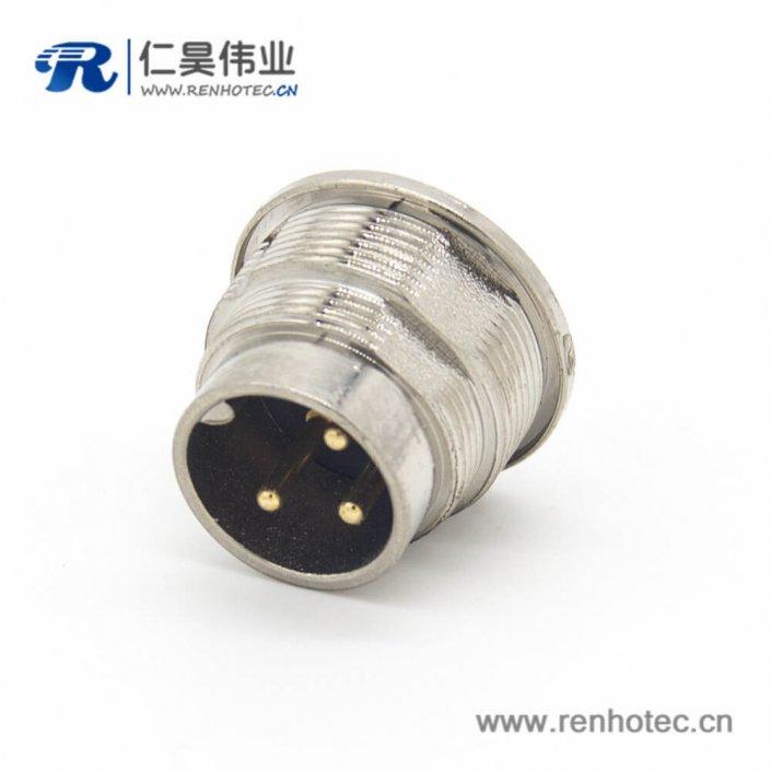 m16连接器3芯直式公头接线插座