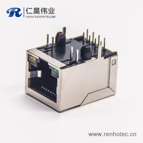 rj45连接器8p8c弯式带灯全屏蔽模块化连接器插板