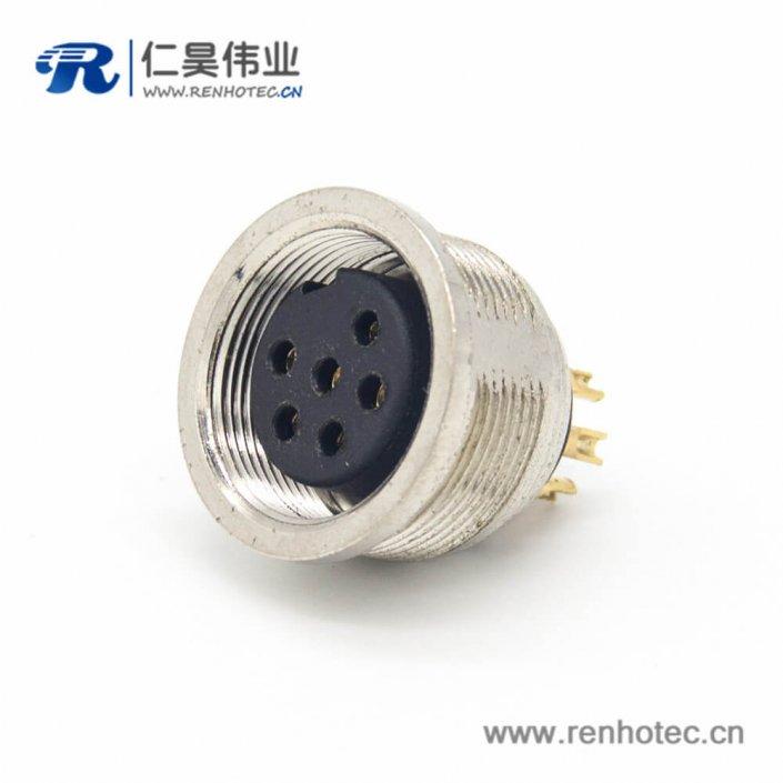 插座-6芯M16直式接线焊接母头连接器