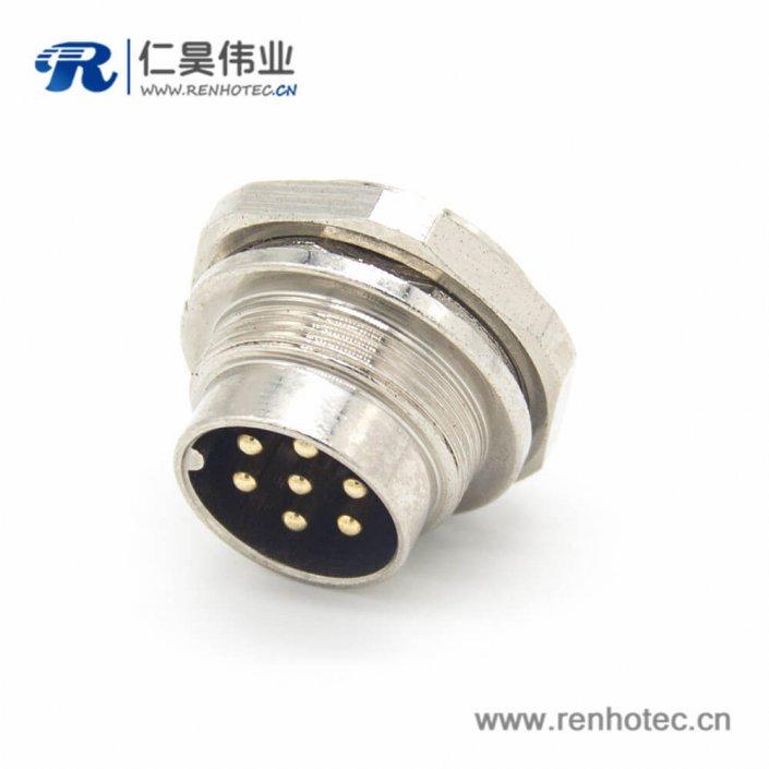 工业防水插座M16 7芯公头直式面板安装连接器