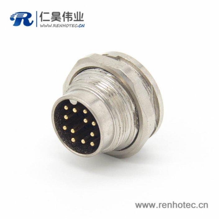 工业防水插头M16 12芯公头直式接线/面板连接器