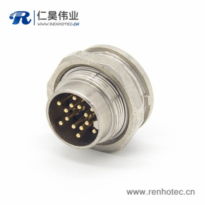 14芯插座 M16直式公头接线/面板连接器
