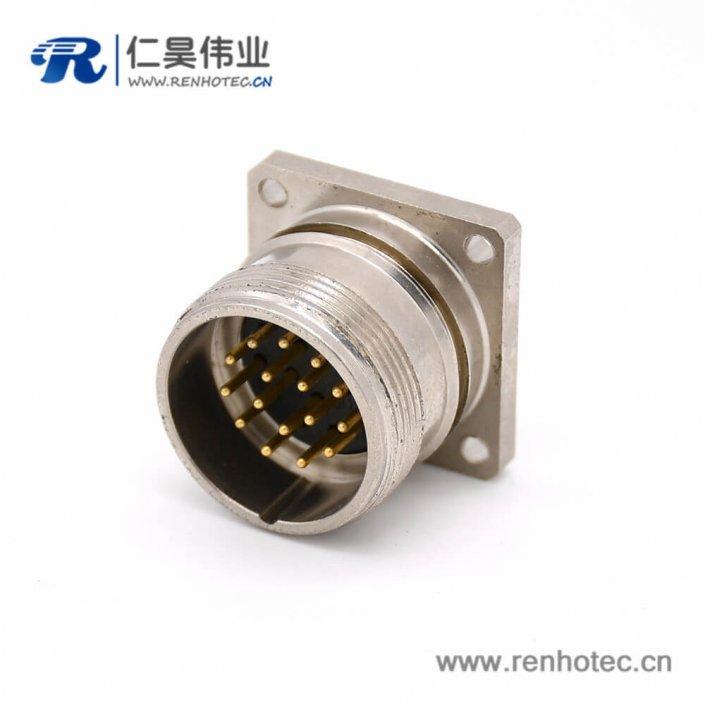 16芯连接器 M623 直式接线四孔法兰公插座