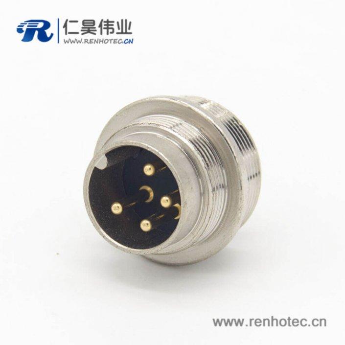 m16 4芯连接器直式公插座焊杯接线