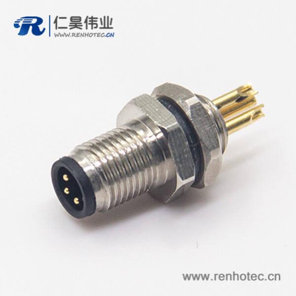 螺纹接头M5航空插座3pin焊线式防水板前安装连接器