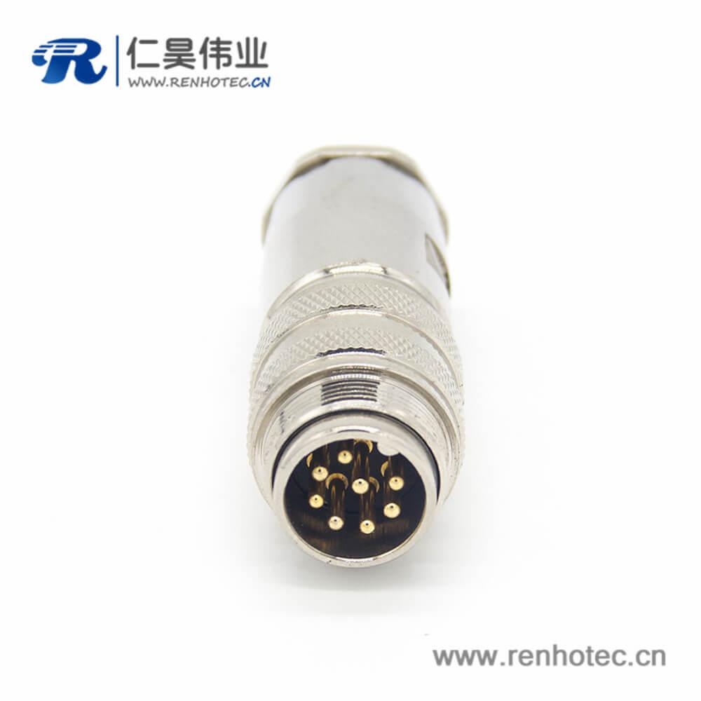 对接插头 M16 8芯直式公头接线连接器