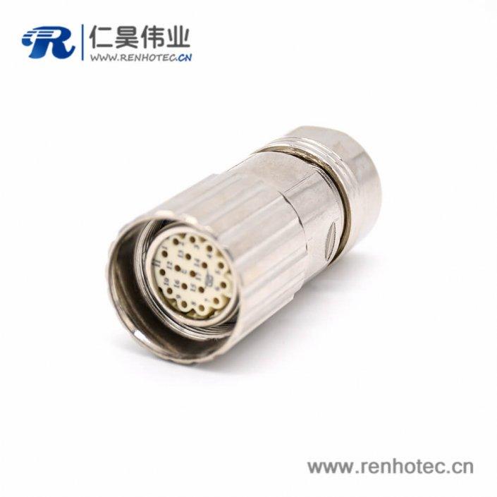 直式电缆插头 M623 17芯接线母头防工业连接器