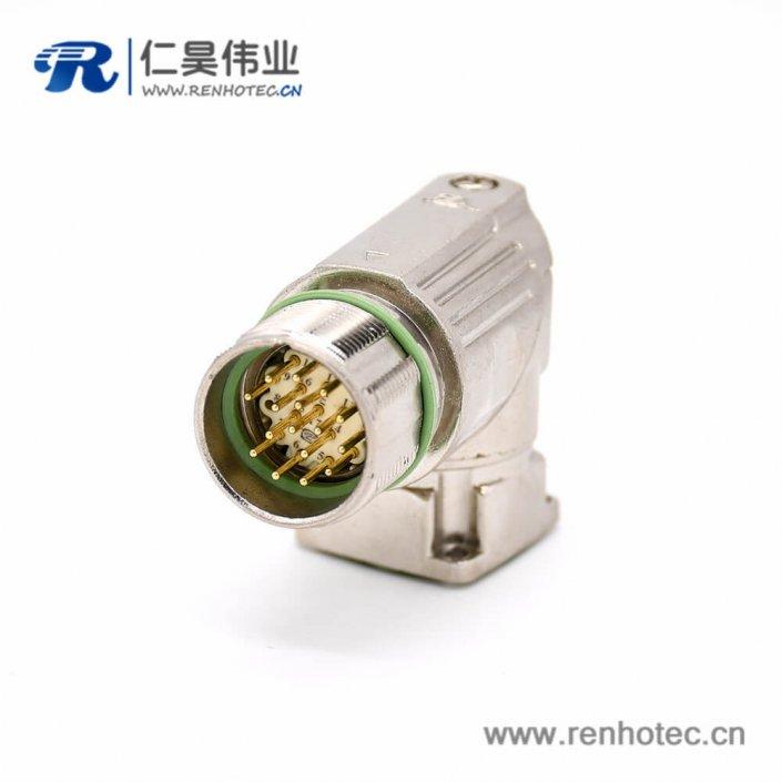工业防水插座 16芯弯式公头四孔法兰连接器