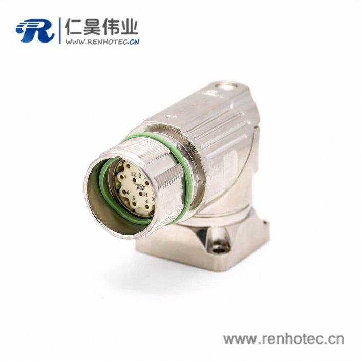 12芯插座 M623 弯式接线法兰母头连接器