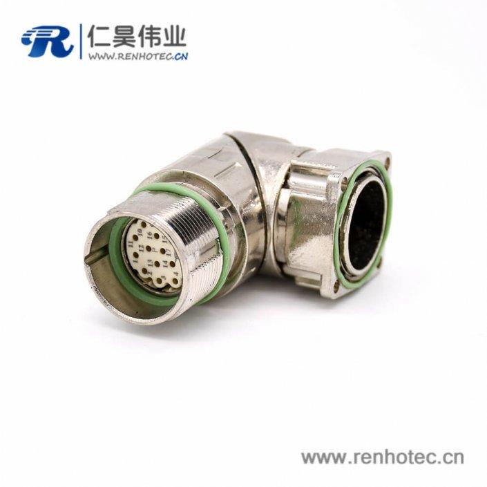 工业防水插座 M623 17芯弯式母头接线法兰连接器
