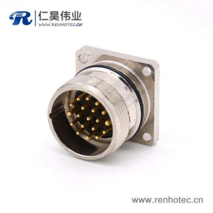 19芯插座 M623 直式接线方型四孔法兰公头连接器