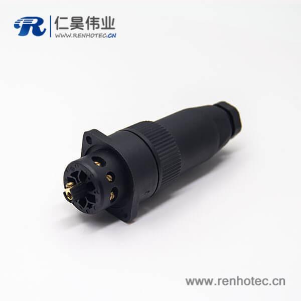 M18接头7芯航空公插头母插座2孔法兰安装全塑电缆接头圆形连接器
