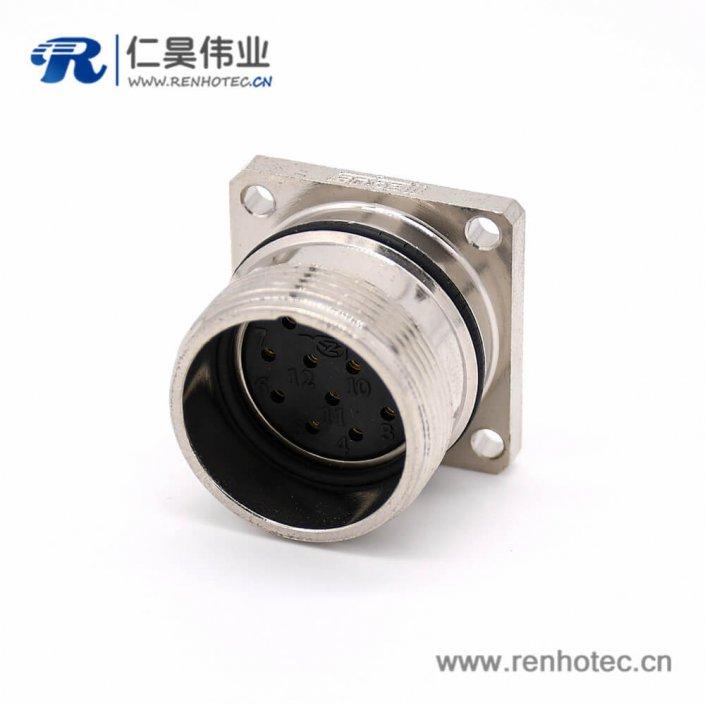 工业连接器母头 M623 直式接线12芯方型四孔法兰插座