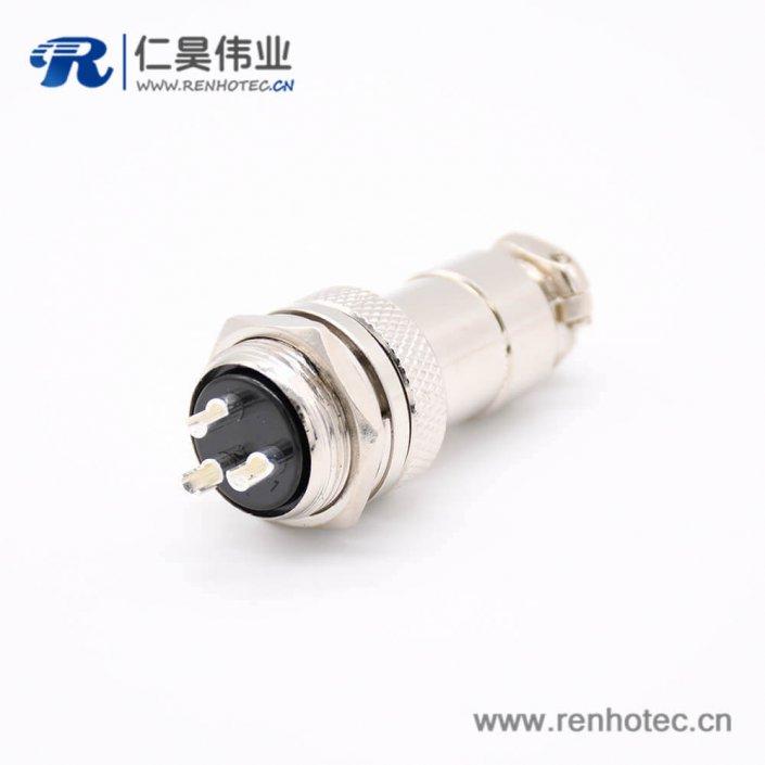 GX20 3芯母插头转公插座常规款直式后锁穿墙焊线连接器