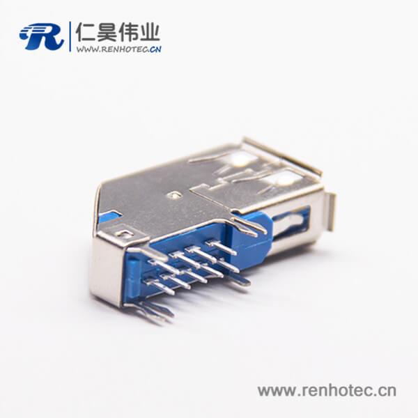 90度3.0 usb A型母座蓝色USB A板端