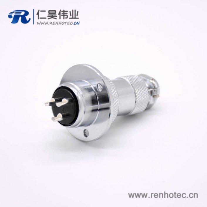 GX20航空连接器3芯母插头转公插座常规款直式法卡兰安装焊线