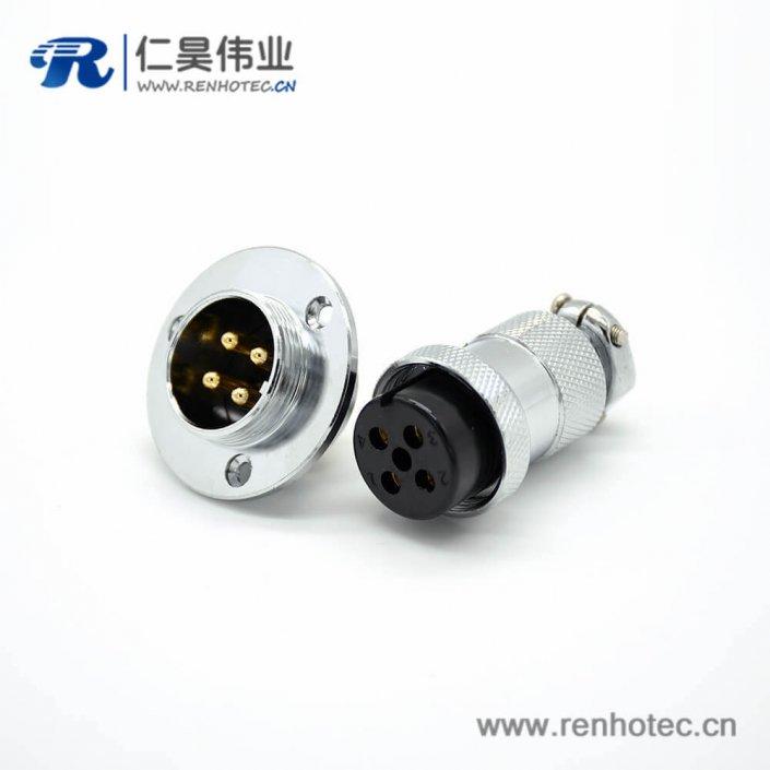 GX20 4芯母插头转公插座常规款直式法卡兰安装焊线