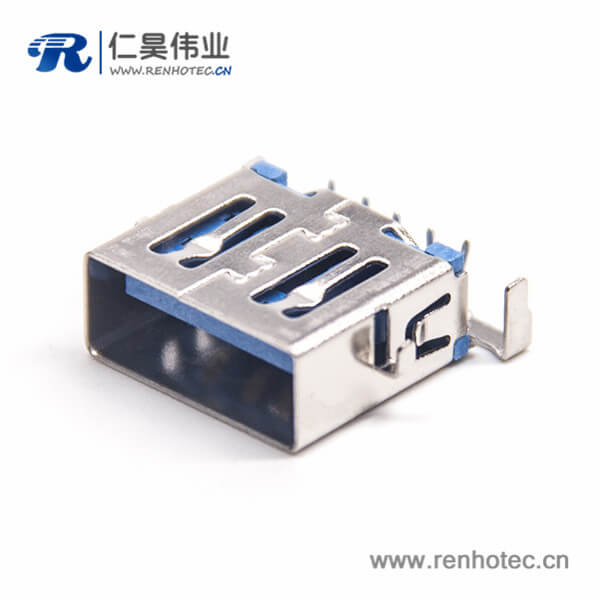 USB母座短体接PCB90度弯头9p