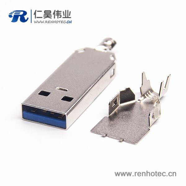 USB 3.0 A公沉板有柱1U'' 锡胶 SMT 1.95 L 18.7