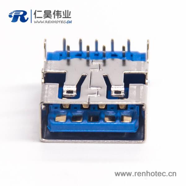 USB 3.0AF短体蓝胶H5.7 L13.790度PA9T