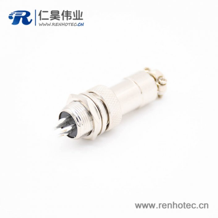 GX12 4芯插头插座常规款直式圆形后锁穿墙焊线连接器