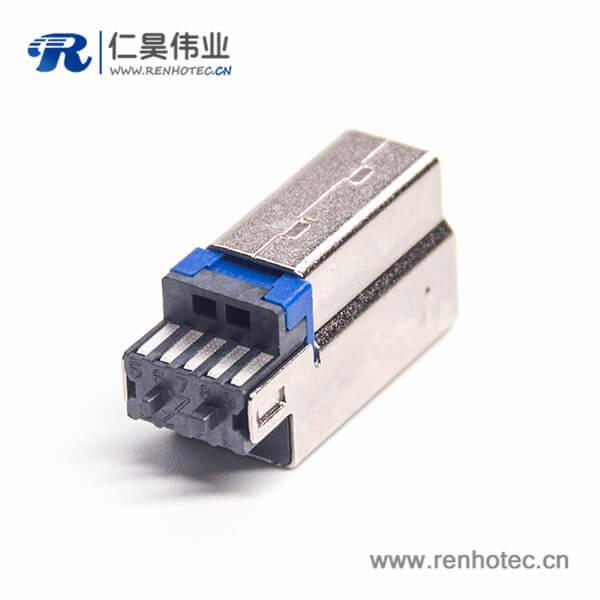 USB 3.0B公带铜壳短体1U''