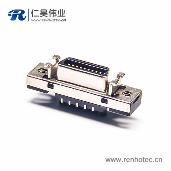 SCSI插座 焊线式直式母头HPCN20芯连接器