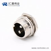 GX16 2芯母插头转公插座常规款直式圆形后锁穿墙焊线连接器