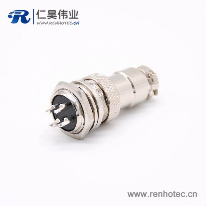 4芯GX16母插头转公插座常规款直式后锁穿墙焊线连接器