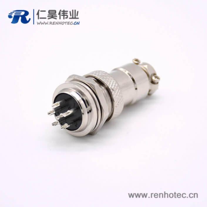 航空连接器GX16 6芯母插头转公插座常规款直式前锁穿墙焊线连接器