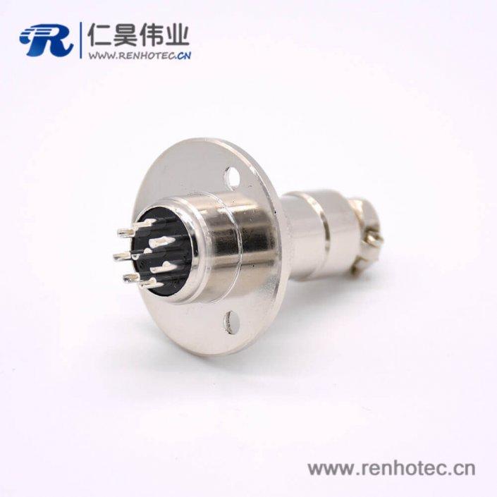 GX16 8芯母插头转公插座常规款直式法卡兰安装焊线连接器
