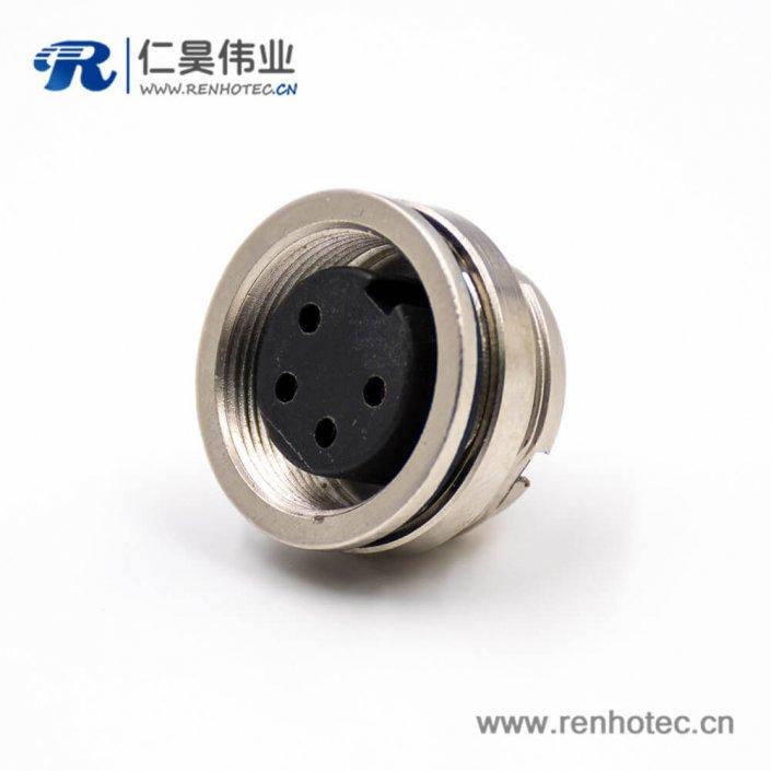 4芯插座M16型号母头板端插座A扣后锁穿墙焊杯接线直式连接器