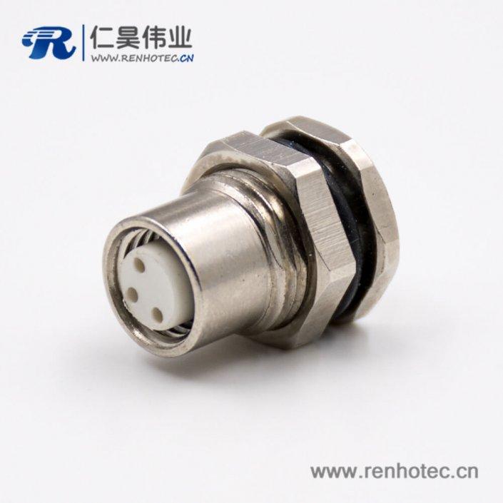 M8防水插座3芯直式前锁板板端插座接线母头焊接式连接器