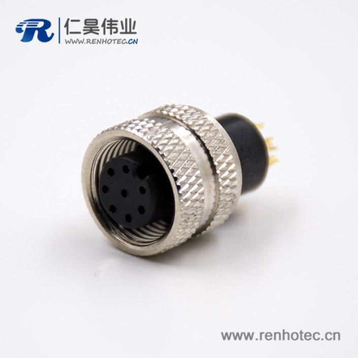 M12a型母头8芯直式注塑焊线式不带屏蔽组装接头传感器