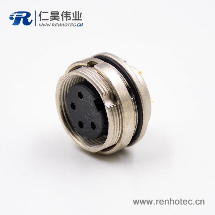 插座母头M16系列4芯板端插座A扣直式焊杯接线前锁穿墙连接器