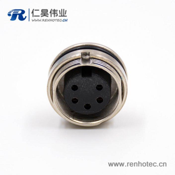 M16连接器5芯母头A扣穿墙焊杯接线车针直式板端插座