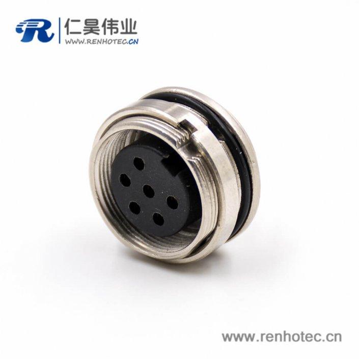 6芯插座M16母头6芯A扣直式板端插座焊杯接线前锁穿墙连接器