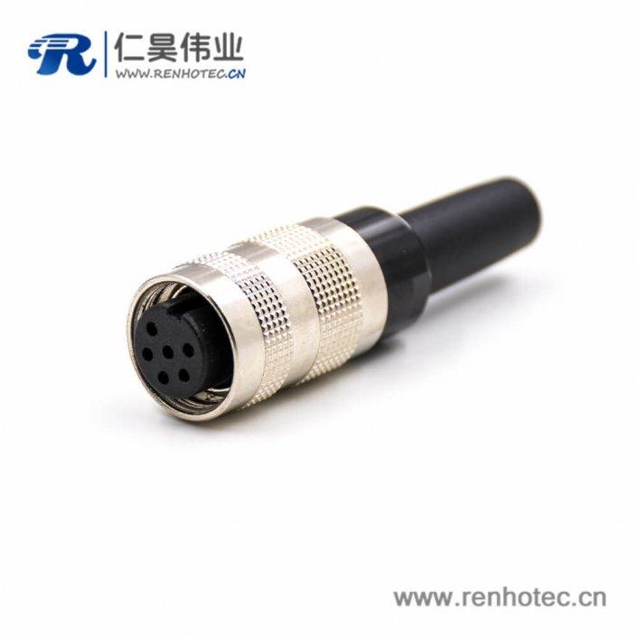 工业电缆防水接头M16母头6芯接线A扣直式组装接头不带屏蔽