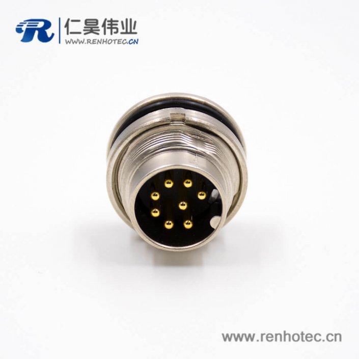 插座公头M16公头8芯A扣直式连接器焊杯接线前锁穿墙板端插座