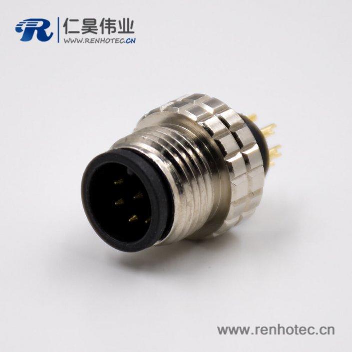 M12电缆接头8芯组装接头A扣公头直式不带屏蔽注塑焊线式连接器