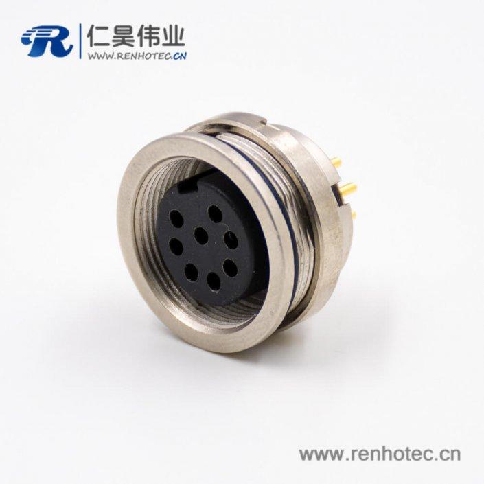 圆8芯插座引脚A扣直式穿墙PCB板连接器板端插座焊接M16母头