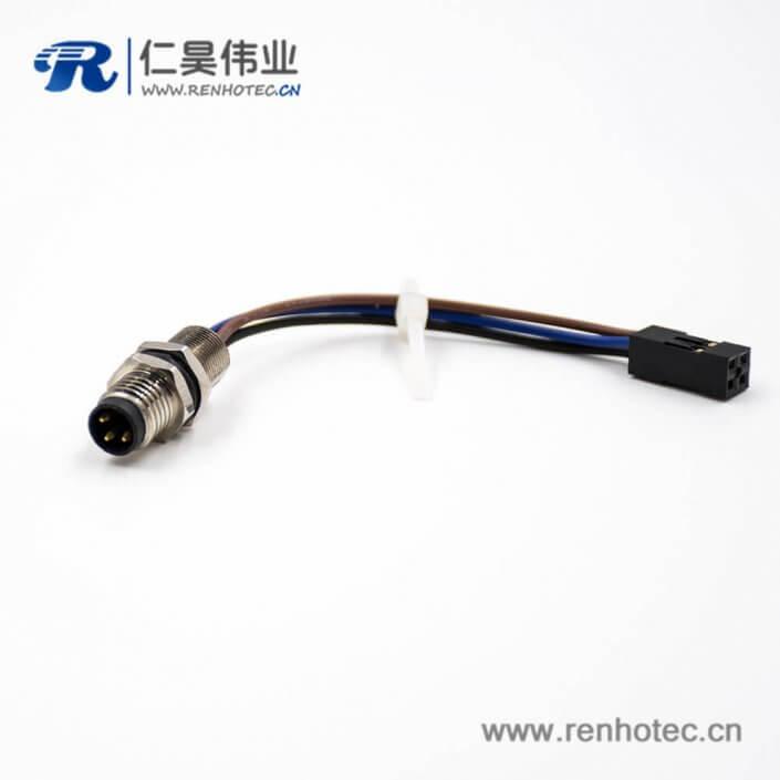 M8传感器连接器公头3芯直式后锁板接端子连接器线束板端插座