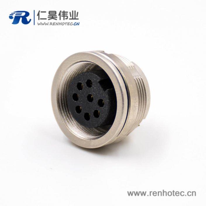 母插座M16母头板端插座8芯A扣直式接线穿墙连接器