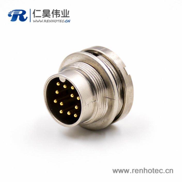 公插座12芯A扣板端插座连接器PCB板接线焊接直式穿墙M16公头