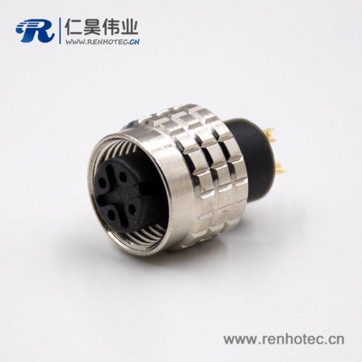 M12传感器连接器注塑组装接头直式焊线式A扣4芯公头不带屏蔽