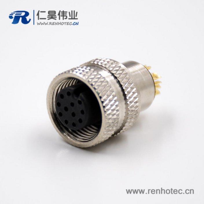 传感器M12接头组装接头接线焊线式A扣12芯母头直式带屏蔽连接器