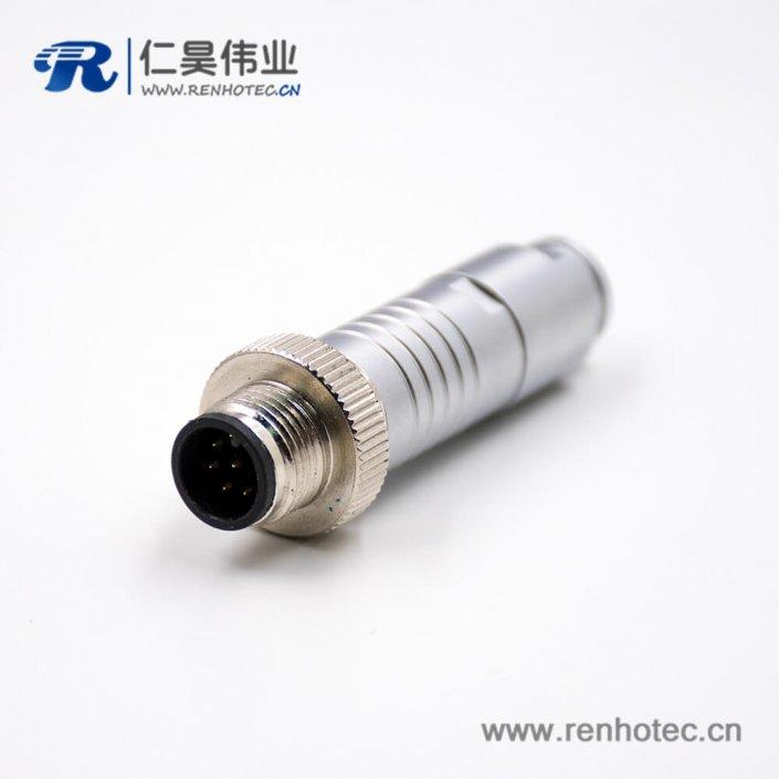 8芯M12防水插头A扣组装接头直式防水接线连接器带屏蔽