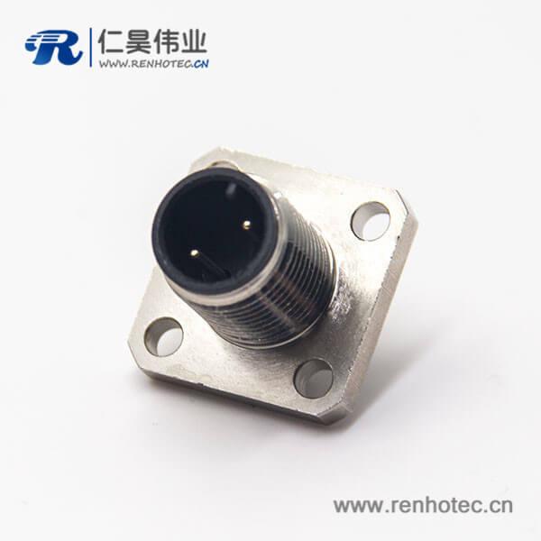 网络接头m12板端插座公头直式2pin安装焊线式带4孔法兰