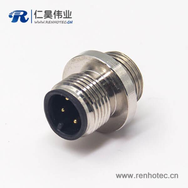 M12网线接头圆形连接器4pin公头A型后锁板防水焊线式航空插座