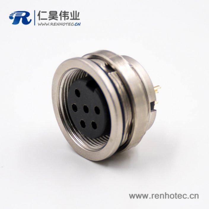 6芯插座M16板端插座A扣母头直式接线后锁板传感器连接器